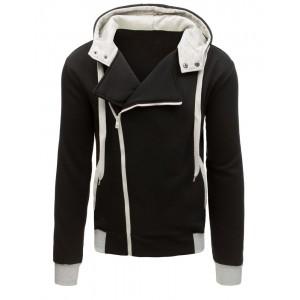 Čierna mikina s kapucňou s kotrastnou bielou farbou so zapínaním na zips