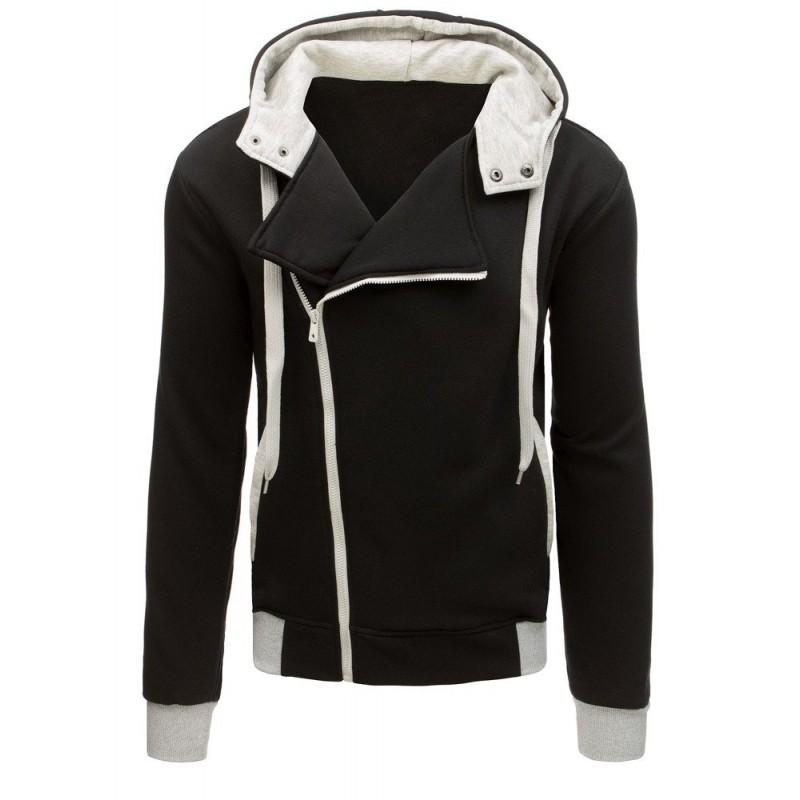 Čierna mikina s kapucňou s kotrastnou bielou farbou so zapínaním na zips 25c30ac6d92