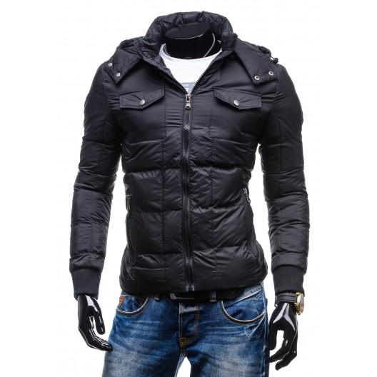 Športové pánske bundy a vetrovky čiernej farby s vreckami a kapucňou