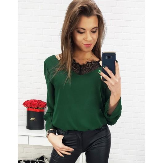 Elegantná dámska zelená blúzka s imitáciou čipkovaného čierneho topu