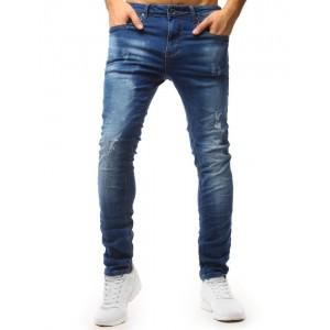 Mierne zúžené pánske jeansy modrej farby
