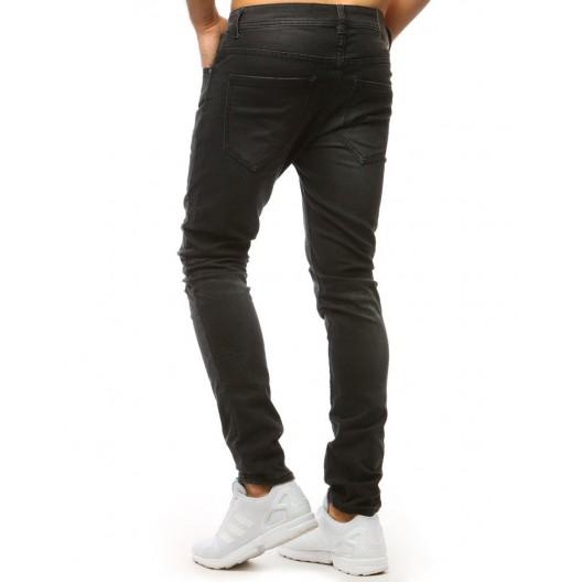 Moderné pánske roztrhané džiny čiernej farby
