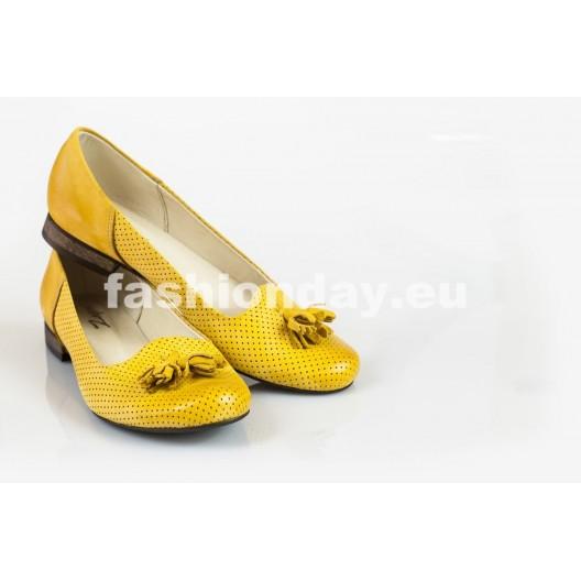Baleríny z prírodnej kože dierkované - žlté