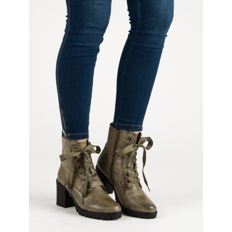 3a75db5ac1507 Zelené členkové dámske topánky na šnúrovanie