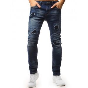Pánské roztrhané džíny v módnom slim strihu