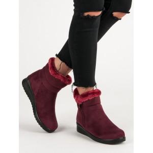 Teplé dámske semišové topánky v červenej farbe