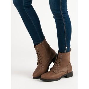 Šnúrovacie dámske zimné topánky na nízkom podpätku