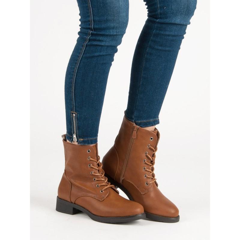 Štýlové dámske zimné šnúrovacie topánky v hnedej farbe 4e095e3b438