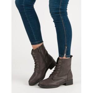 Dámske zimné topánky v sivej farbe na nízkom podpätku