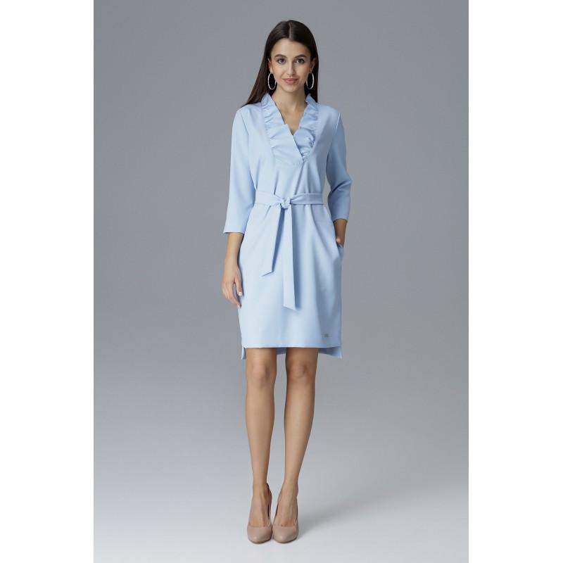 2cdc9572a104 Krátke spoločenské šaty na svadbu svetlo modrej farby