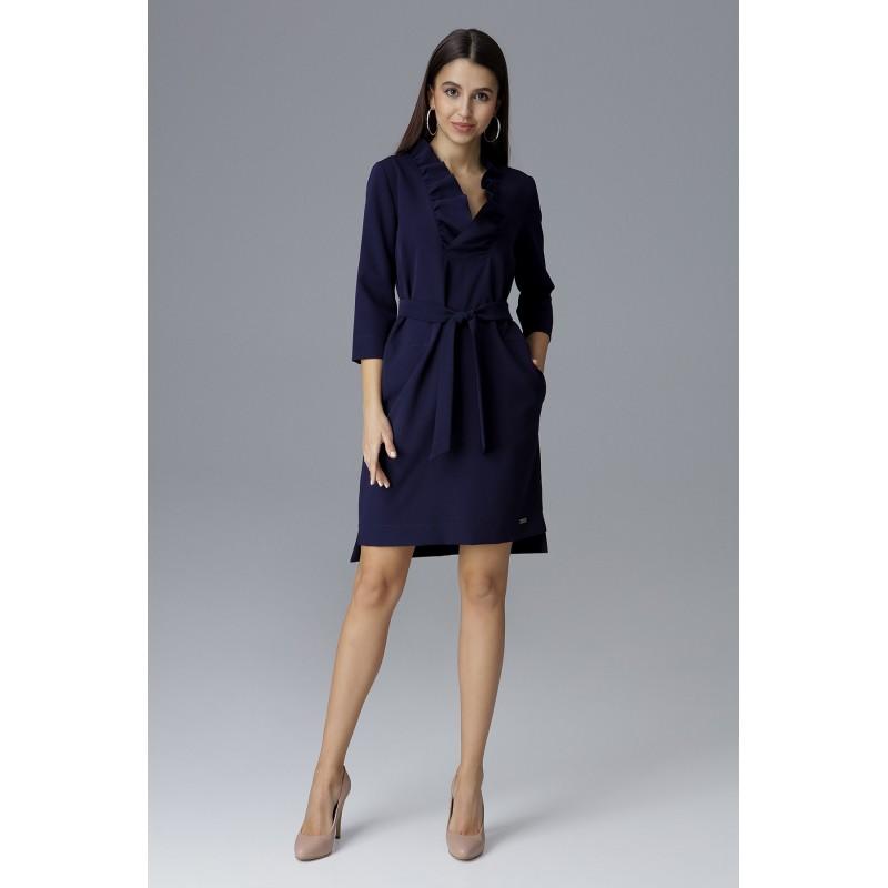 00f24c3e152f Tmavo modré spoločenské šaty krátkeho strihu