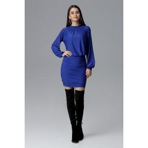 Luxusné plesové šaty modrej farby bez výstrihu