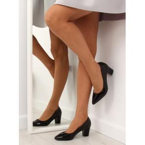 Čierne lodičky pre dámy na nízkom podpätku