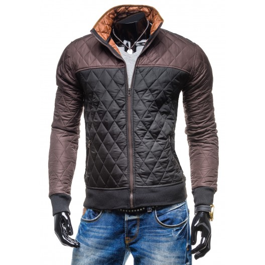 Štýlové prechodné bundy pre pánov čierno-hnedej farby na zips