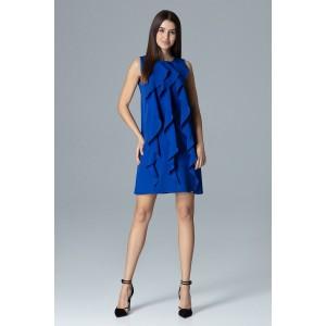 Elegantné šaty na ples modrej farby bez rukávov