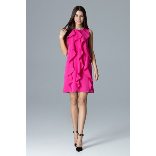 Spoločenské šaty krátke tmavo ružovej farby