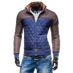 Moderné prechodné bundy modro-hnedej farby bez kapucne