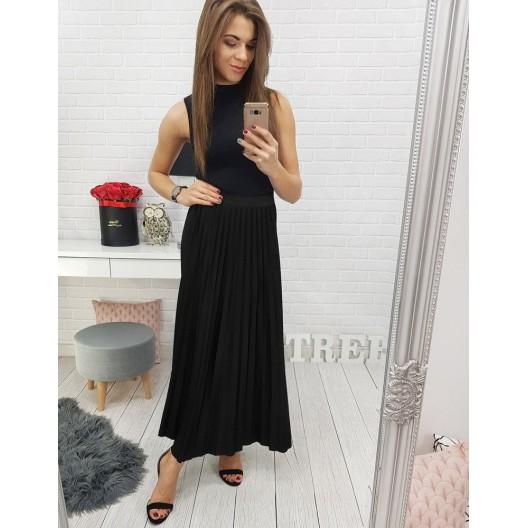 Dlhá dámska sukňa čiernej farby s elastickým pásom