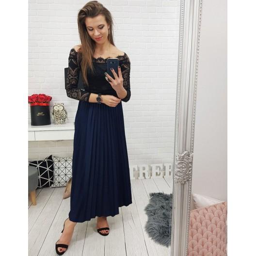 Tmavo modrá dlhá dámska sukňa na ples