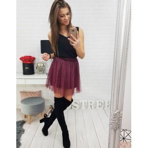 Dámska mini sukňa bordovej farby s podšívkou