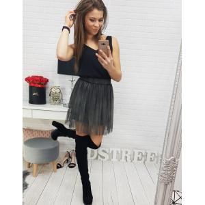 Mini sukňa s podšívkou v sivej farbe