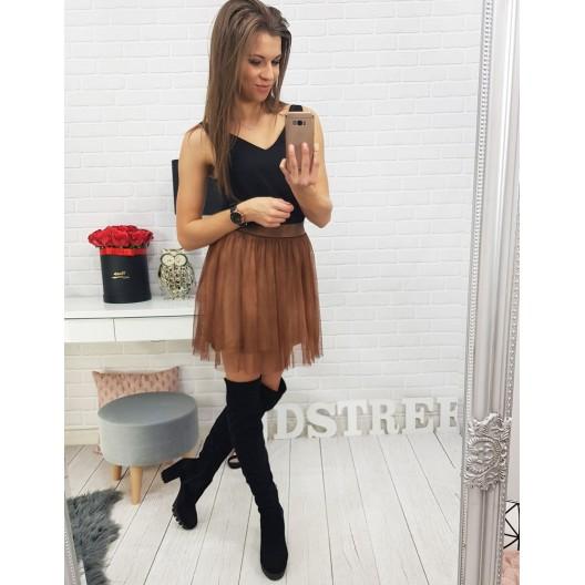 Luxusná dámska mini sukňa hnedej farby