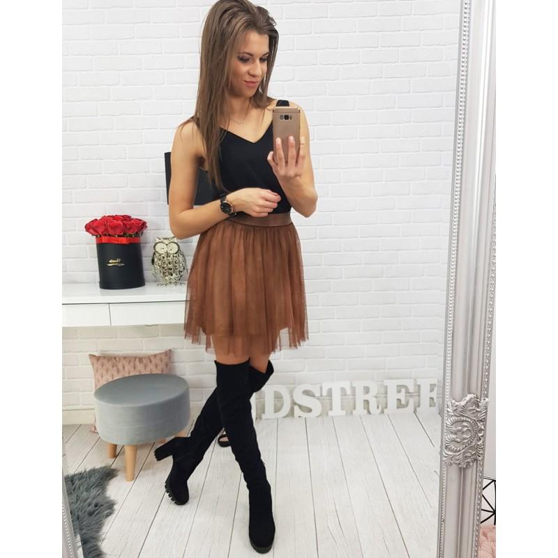 9d827b619dee Luxusná dámska mini sukňa hnedej farby
