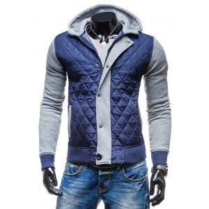 Prechodné bundy pre chlapov modro-šedej farby na zips s kapucňou