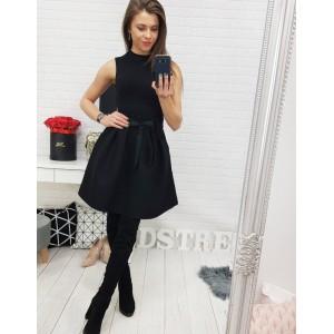 Elegantná dámska sukňa čiernej farby s dekoračnou stuhou