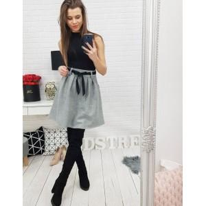 Krátka sivá dámska sukňa so stuhou