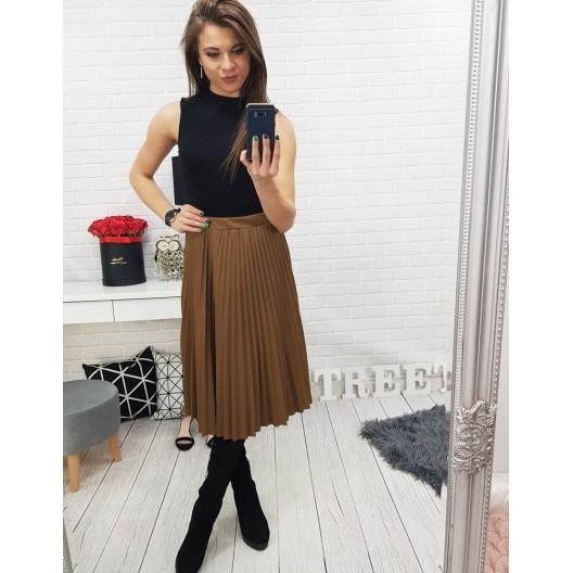 Hnedá skladaná dámska sukňa s gumičkou v páse