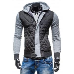 Jarná prechodná bunda čierno-sivá s gombíkmi a kapucňou