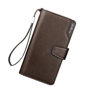 Dlhá pánska peňaženka v hnedej farbe z ekokože
