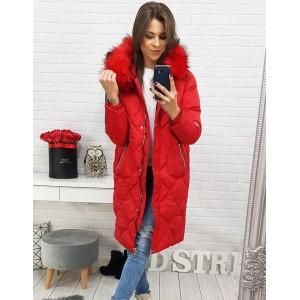 Červená dámska dlhá zimná bunda s kožušinou