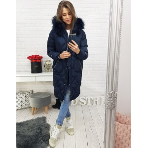 Dámska prešívaná dlhá zimná bunda s kožušinou v modrej farbe