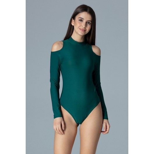 Elegantné dámske body zelenej farby s odhalenými ramenami