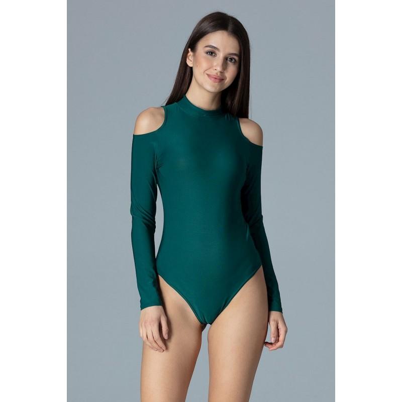887b47694c9a Elegantné dámske body zelenej farby s odhalenými ramenami