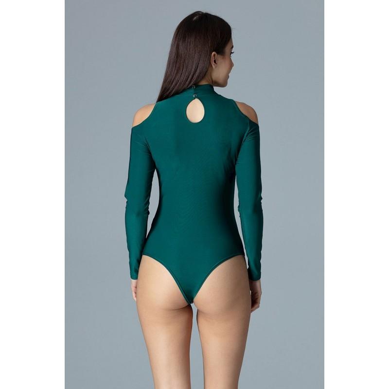 29347438c719 Elegantné dámske body zelenej farby s odhalenými ramenami