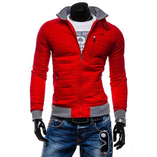 Pánske jarné prechodné bundy sýto-červenej farby