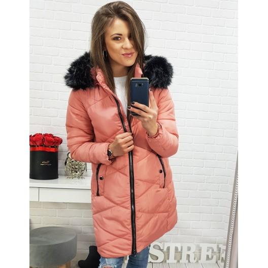 Dámska zimná prešívaná bunda v ružovej farbe