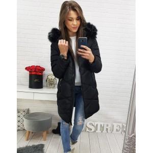 Zimná prešívaná bunda pre dámy s kožušinou na kapucni