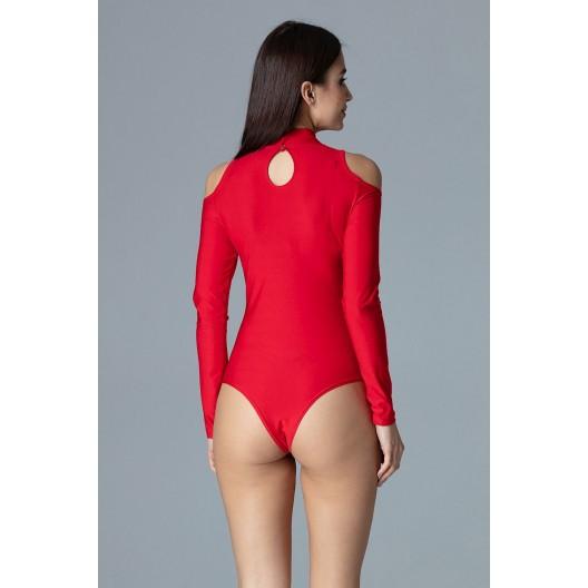 Červené dámske elegantné body bez výstrihu