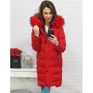 Štýlová dámska červená zimná bunda s kožušinou