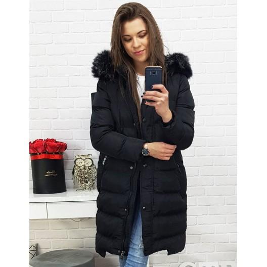 Dlhá dámska zimná bunda v čiernej farbe s kapucňou
