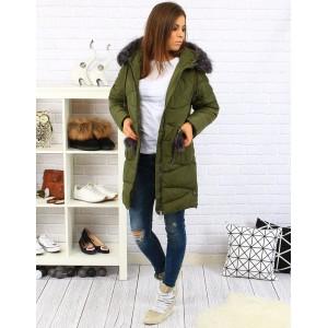 Dámska zimná prešívaná bunda v zelenej farbe