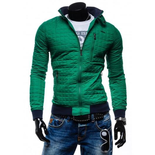 Štýlové pánske prechodné bundy pre mužov zelenej farby na zips bez kapucne