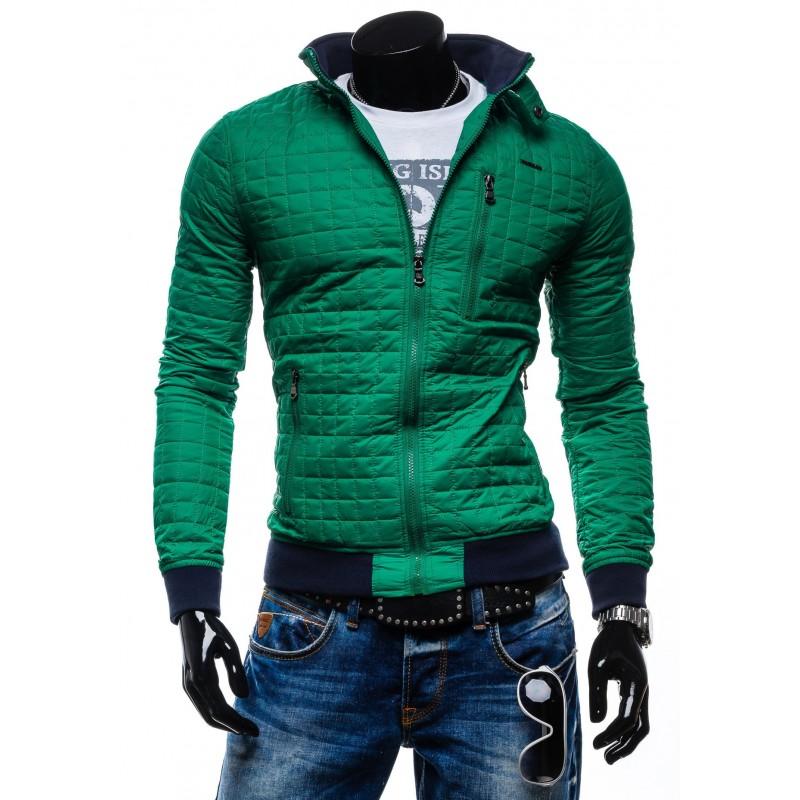Štýlové pánske prechodné bundy pre mužov zelenej farby na zips bez ... 0b3e1f02703