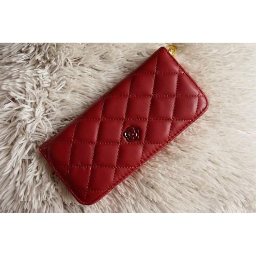 Dámska prešívaná peňaženka v červenej farbe z eko kože