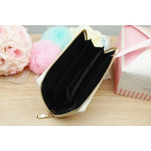 Prešívaná dámska béžová peňaženka na zips
