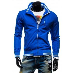 Značkové prechodné bundy pre mužov modrej farby bez kapucne